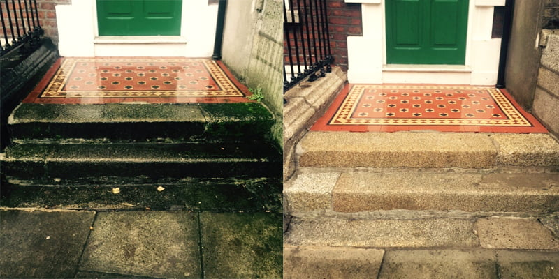 Granite step restoration on St Stephen's Green