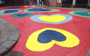 P Mac Love the Lanes Crampton court painting hearts