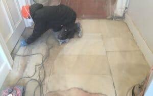 Removing contamination from Georgian portland stone floor P Mac Dublin