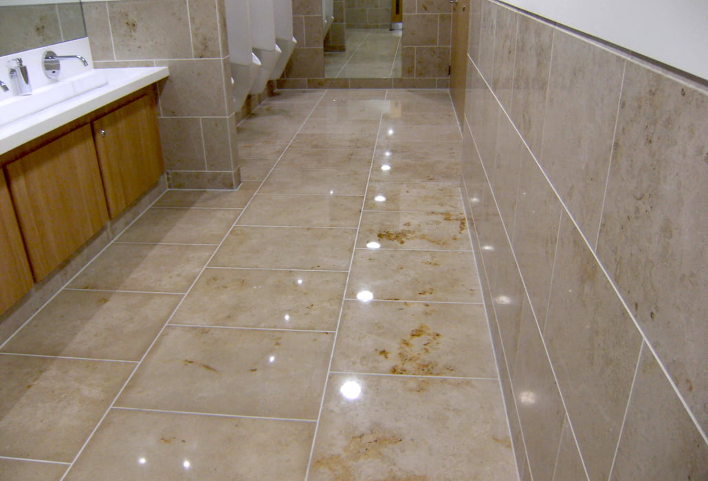 Marble bathrooms cleaned, polished and sealed - Montevitro Building