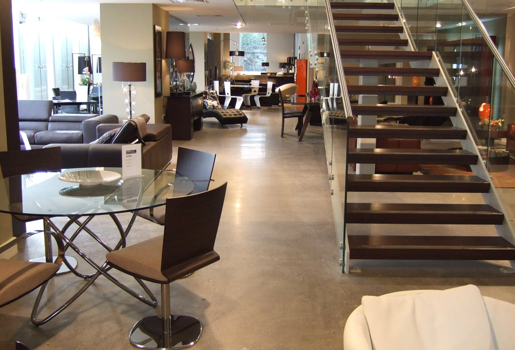 Roche Bobois furniture Sandyford polished concrete floor
