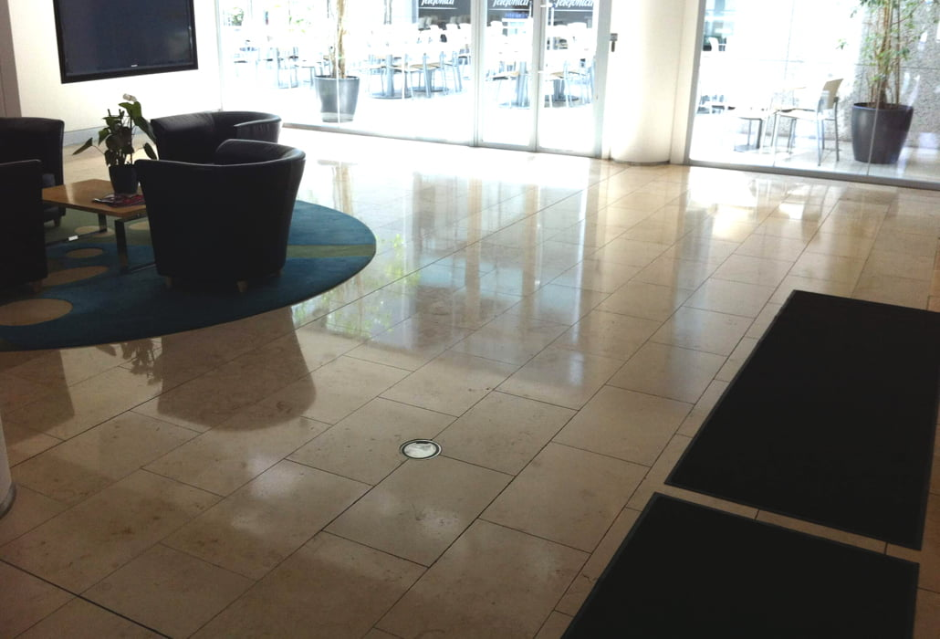 Limestone floor cleaned and sealed - Telefonica