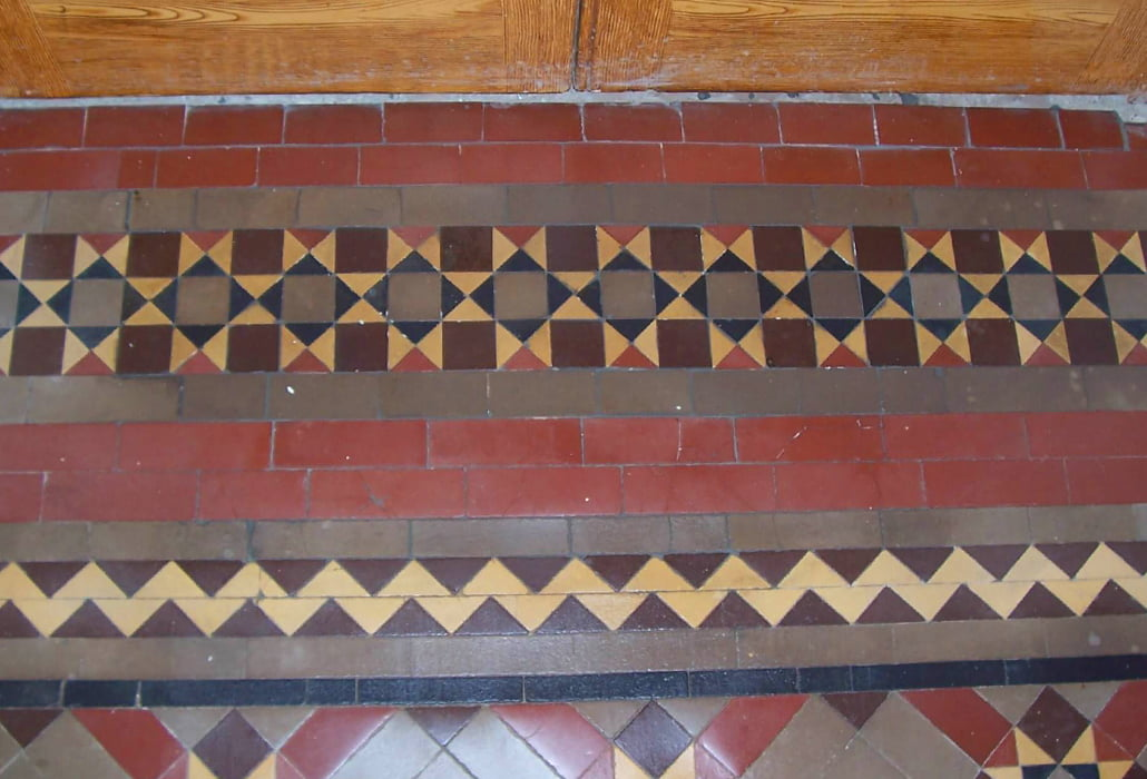 Encaustic tiles, cleaned and sealed - Rush Church