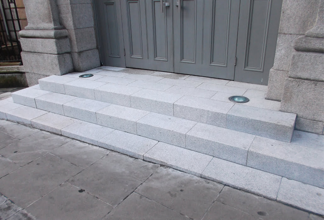 Cleaned granite steps at the Gate Theatre