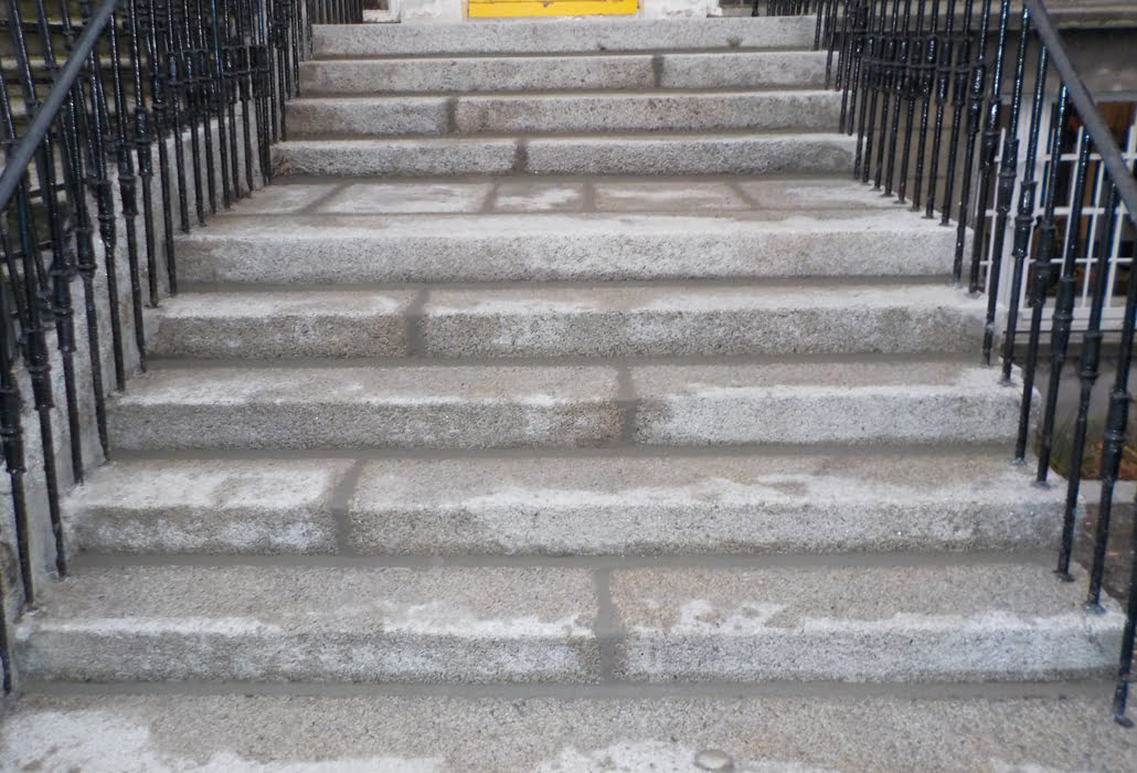 Granite steps cleaned, repointed and sealed