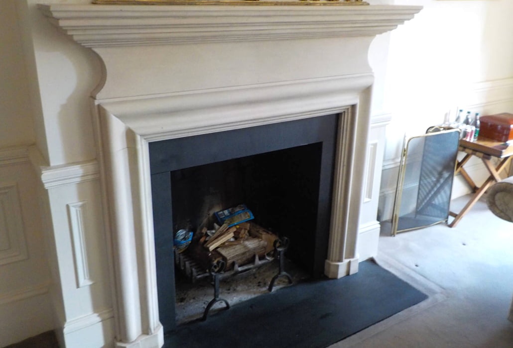 Cleaned limestone fireplace