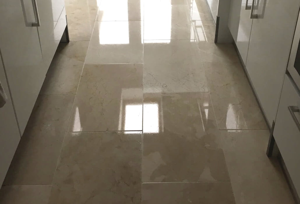 Limestone floor, polished and sealed
