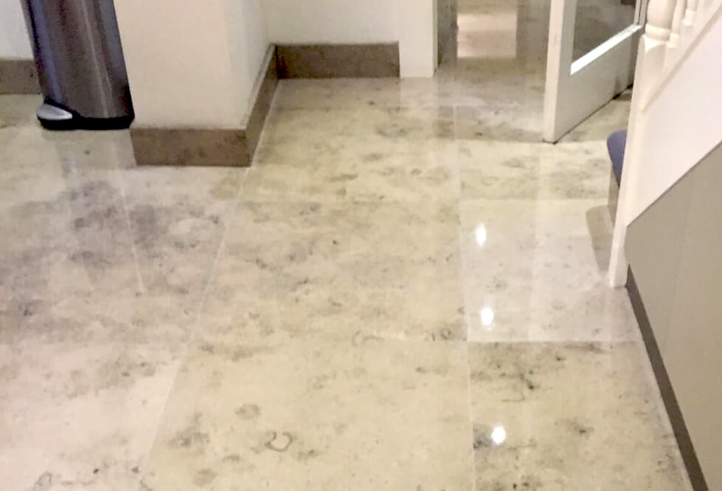 Restored and polished limestone floor