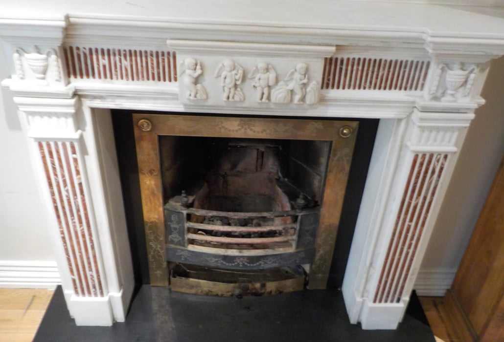 Marble fireplace, cleaned
