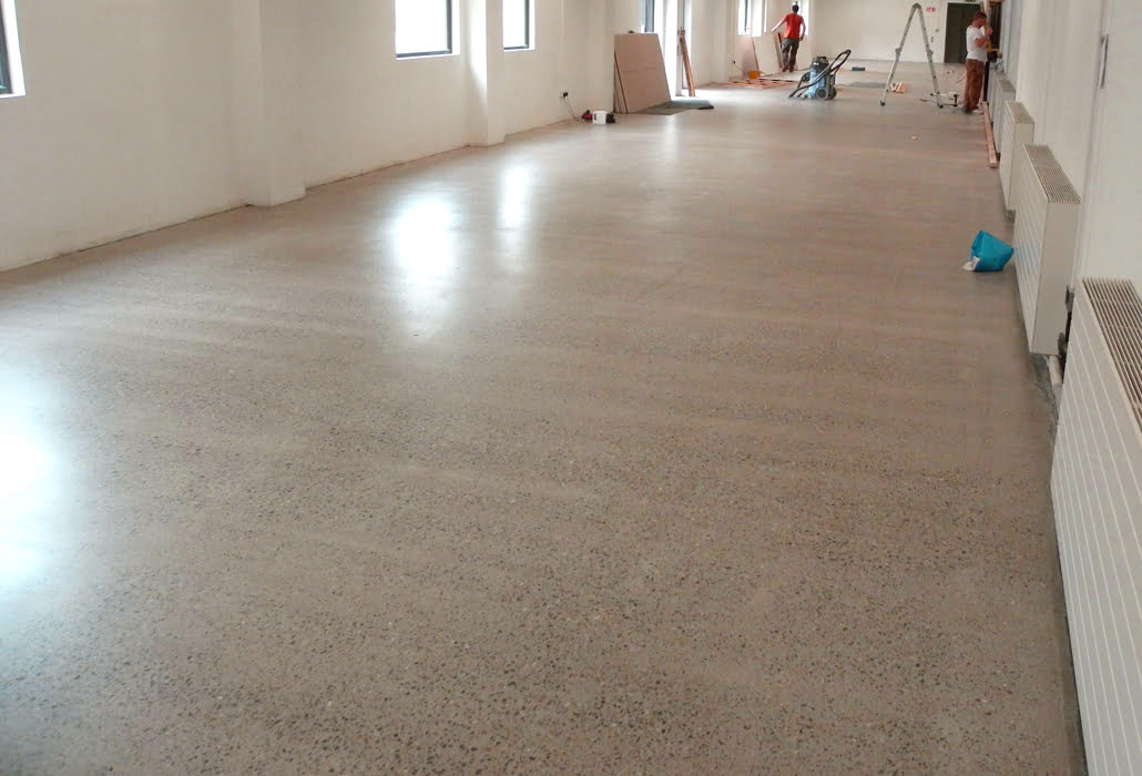 Polished concrete after nine grinds, then sealed with PU sealer