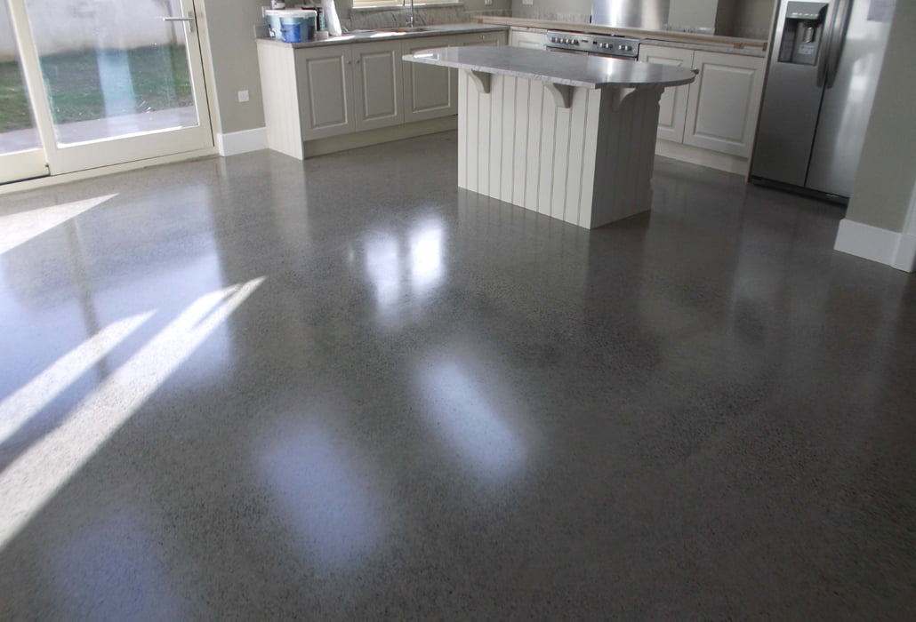 Polished concrete floor polished to a platinum finish for How to shine cement floor