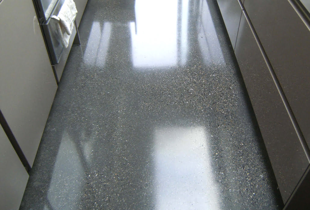 Polished concrete with a high shine