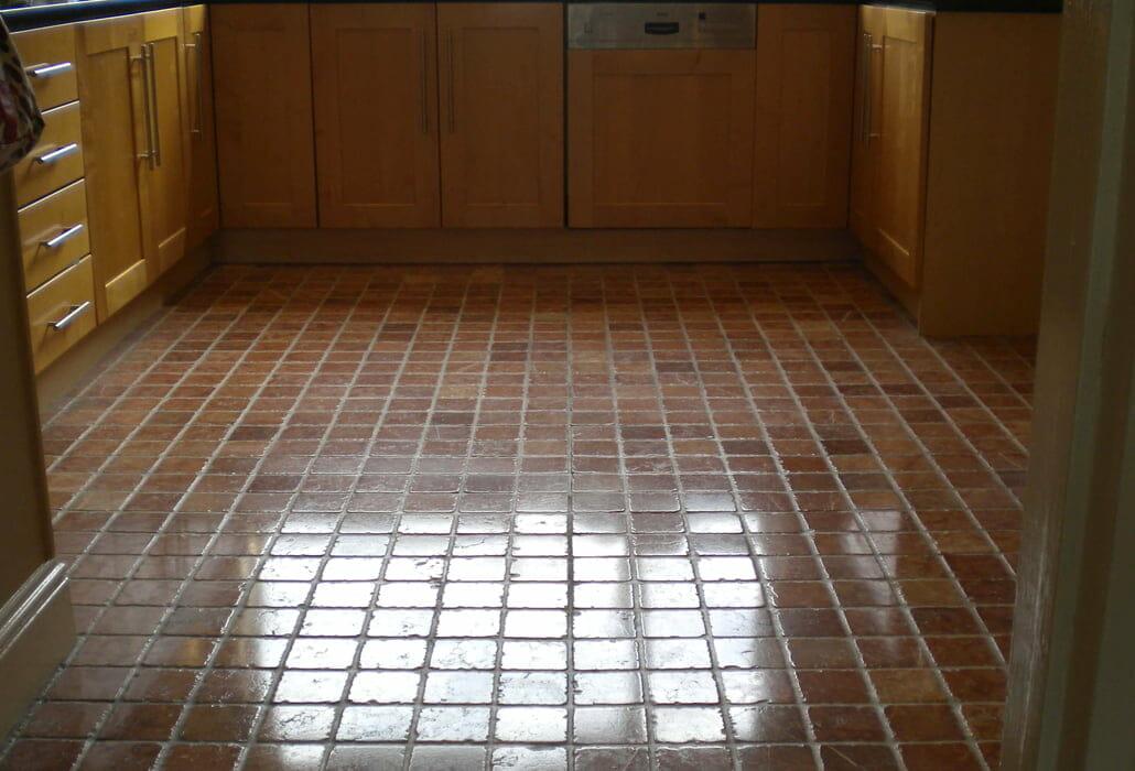 Polished tumbled marble floor