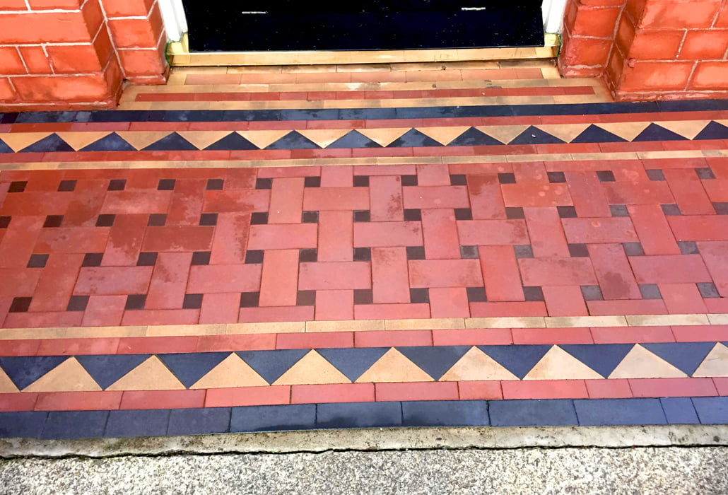 Quarry tile steps, cleaned