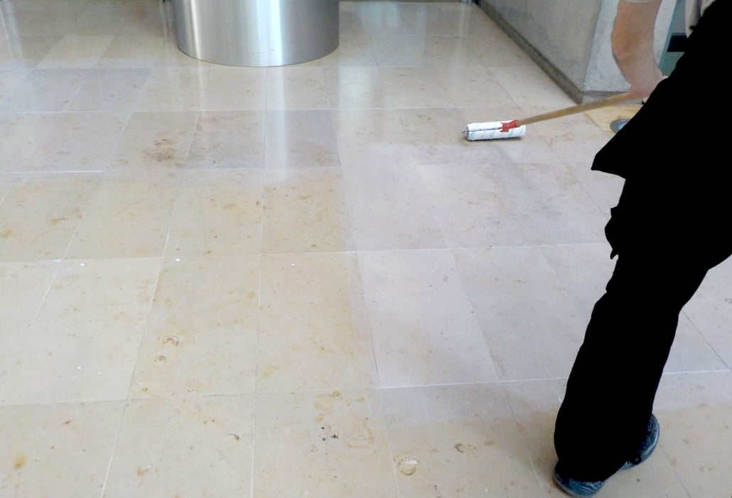 Sealing a limestone floor at Dunnes Stores HQ