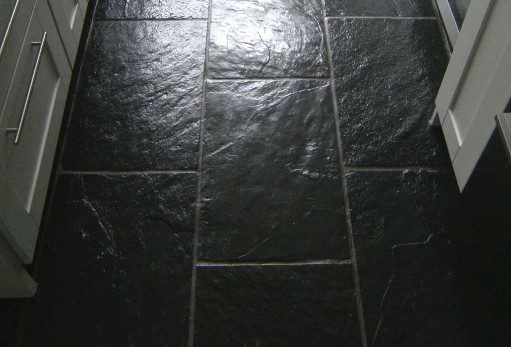 Polished slate floor