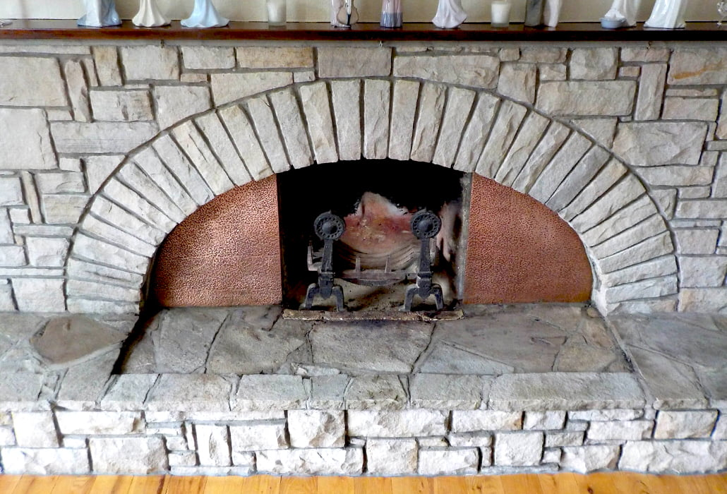 Stone fireplace, cleaned