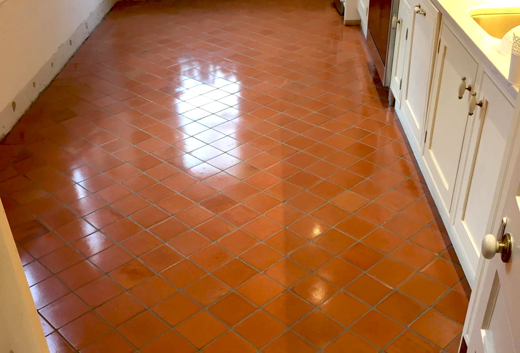 Old terracotta tiles restored to new