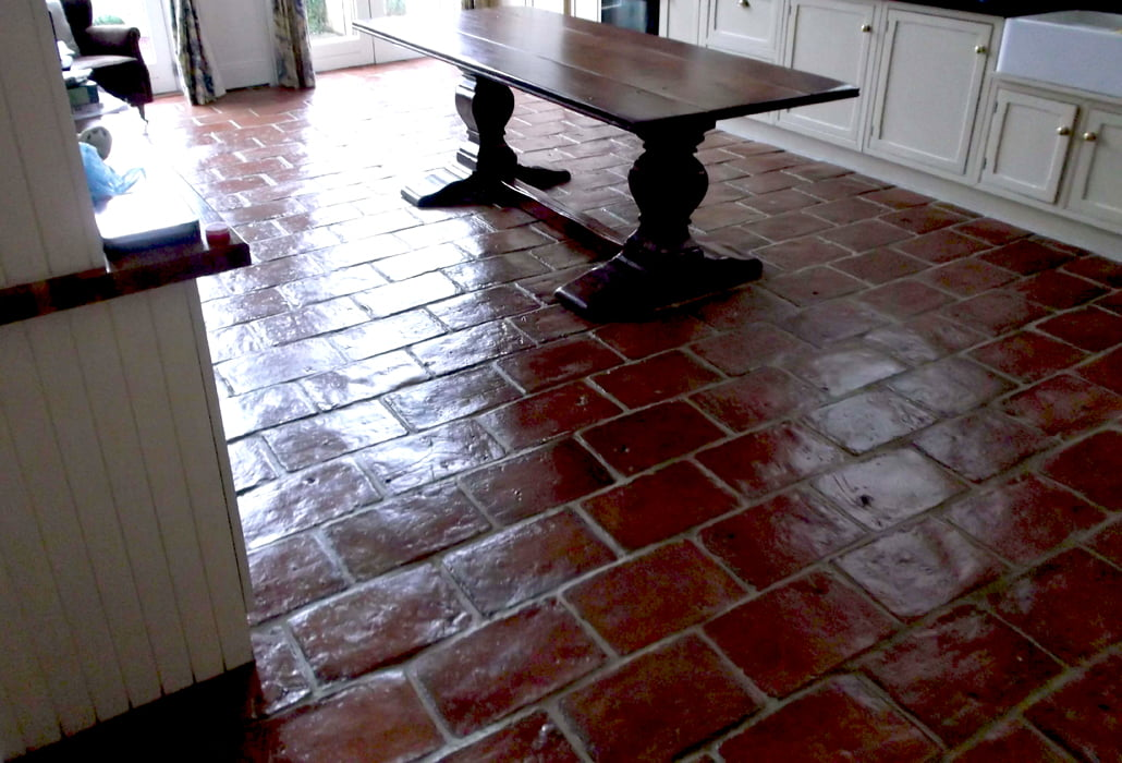Terracotta tiles cleaned, polished and sealed