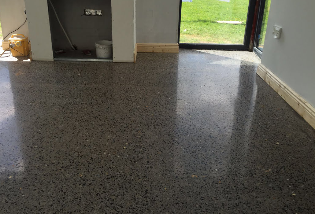 Polished concrete floor to platinum finish by P Mac