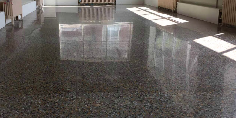 restored and polished terrazzo floor