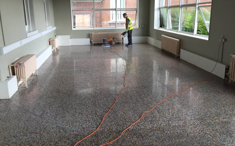 A Neglected Terrazzo Floor Restored And Transformed P Mac - How to maintain terrazzo floors