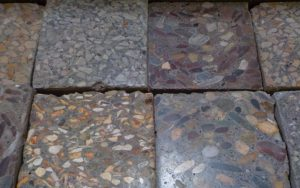 Polished concrete samples with various aggregates added