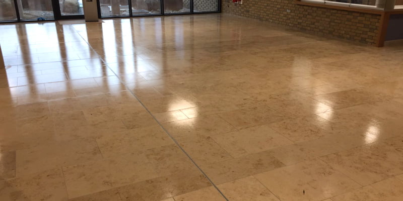Antislip coating applied to a jura limestone floor P Mac
