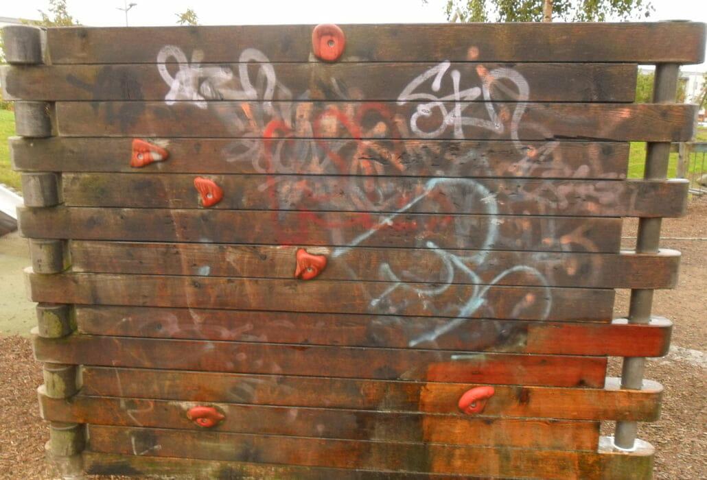 Graffiti on wood