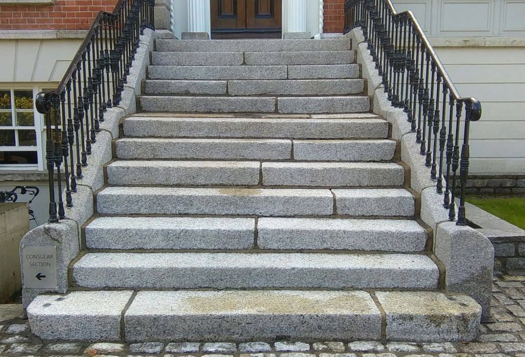 Granite steps at Belgian Embassy Ireland cleaned and restored by PMac