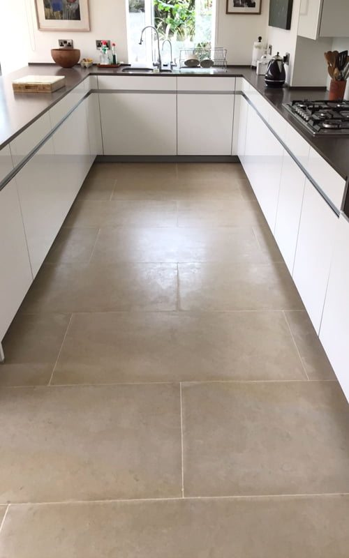 Limestone floor cracked tiles repaired stripped polished and sealed
