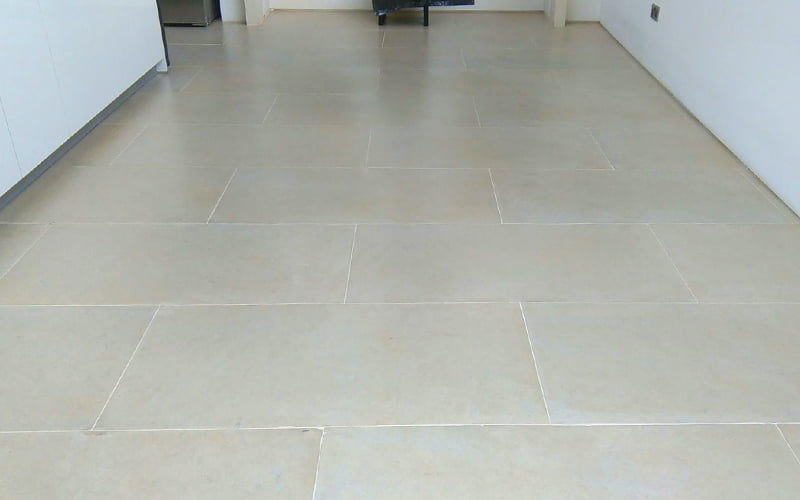 Limestone floor repaired stripped polished and sealed