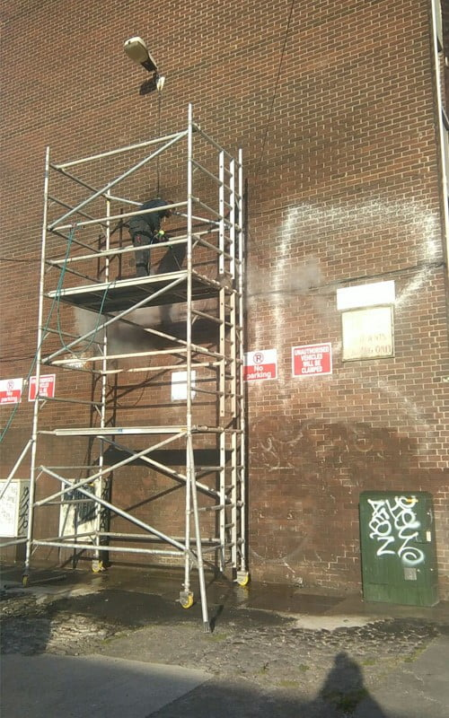 Safely removing graffiti from Tom Kelly flats Dublin