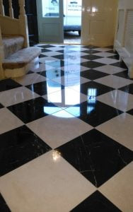 Marble stone tiles with shine restored by P Mac
