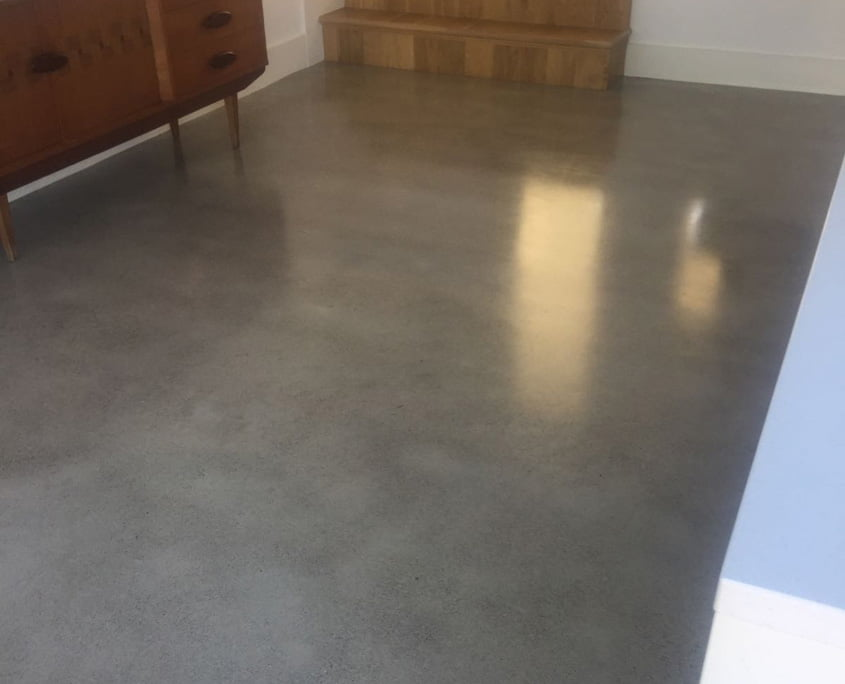 Polished concrete floor gold finish