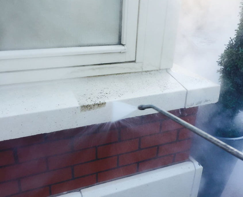 Steam cleaning reconstituted stone in Terenure