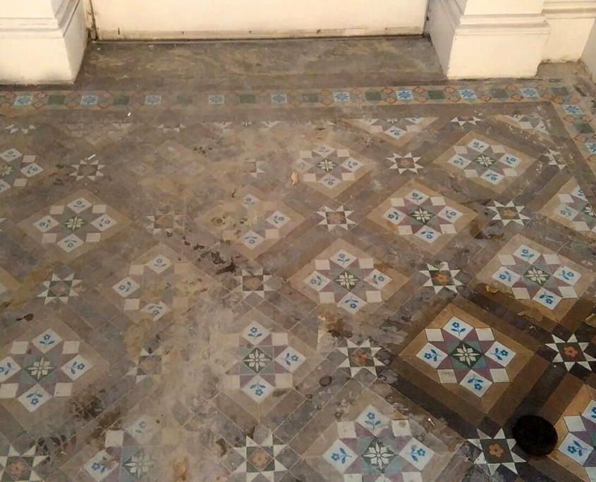 Contaminated encaustic tiled floor P Mac