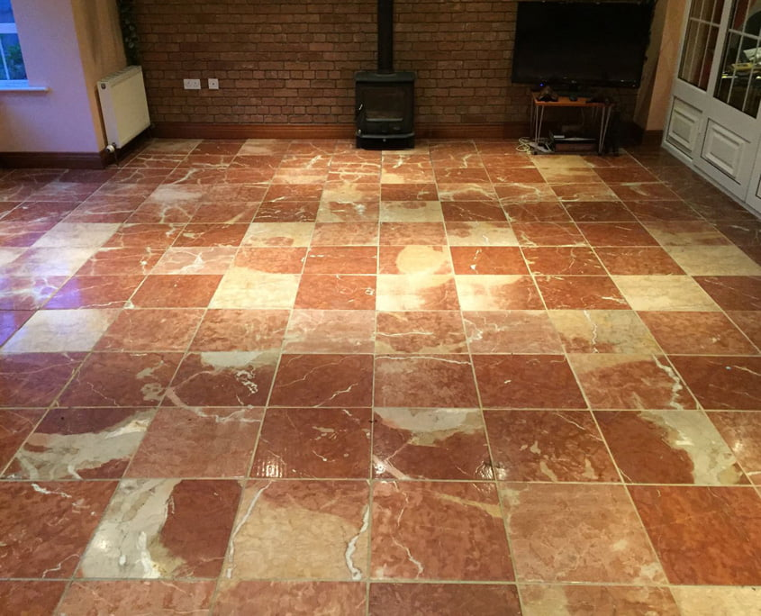 Dull red marble floor before work