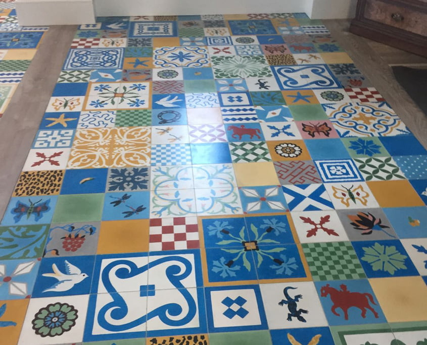 Hand painted ceramic tiles cleaned and sealed by P Mac Dublin