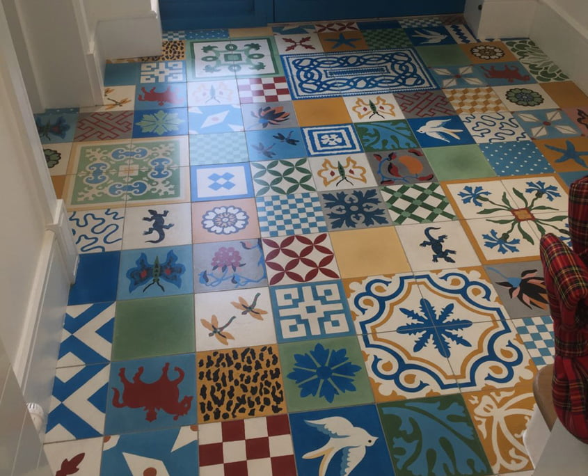Handpainted ceramic tiles cleaned and sealed by P Mac
