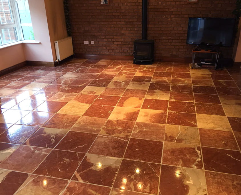 Red marble floor stripped polished and sealed by P Mac Dublin