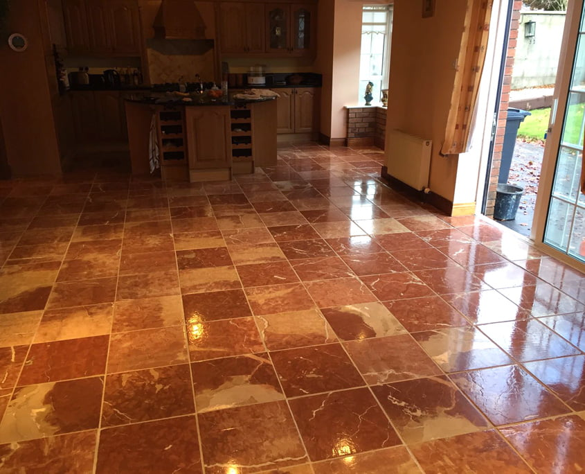 Red marble floor stripped polished and sealed by P Mac