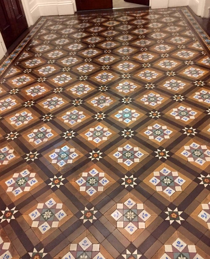 Restored encaustic tiled floor at STW Architects