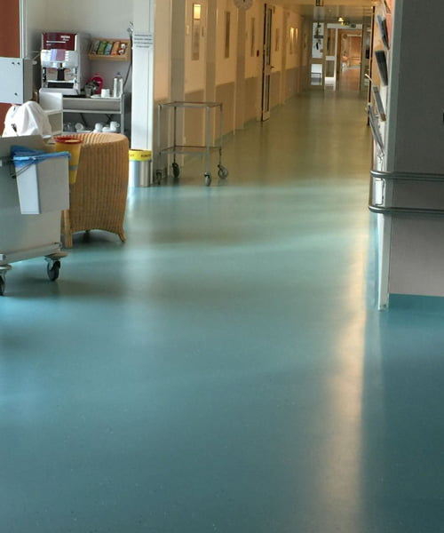 Wearmax coating on busy hospital floor