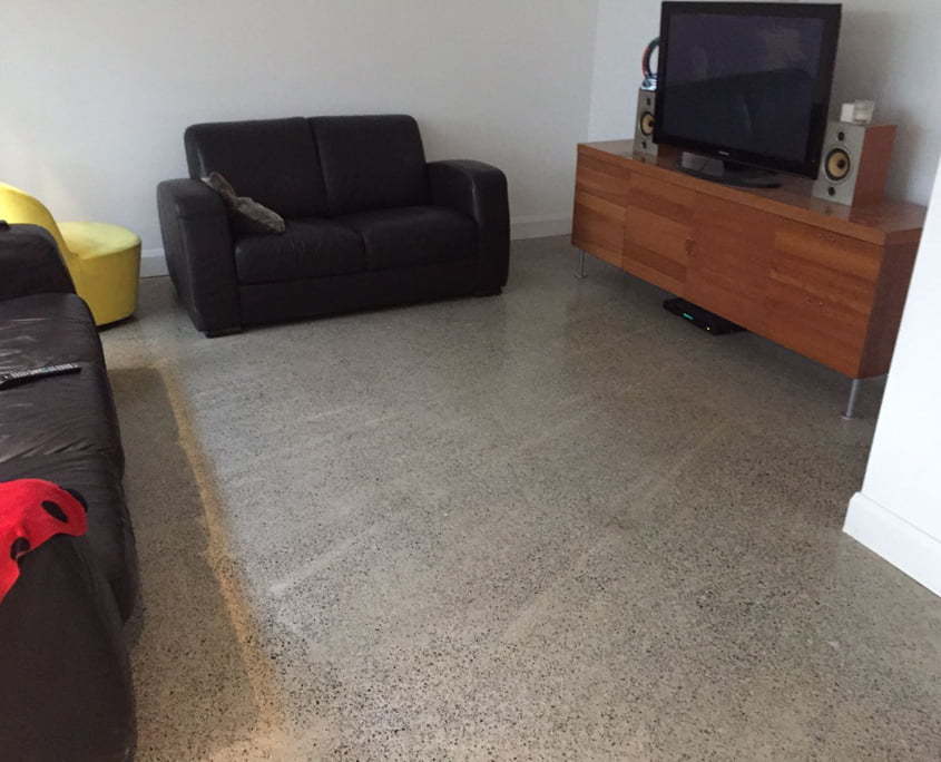 Polished concrete floor marks left during pour