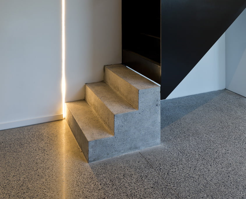 Polished concrete floor silver finish