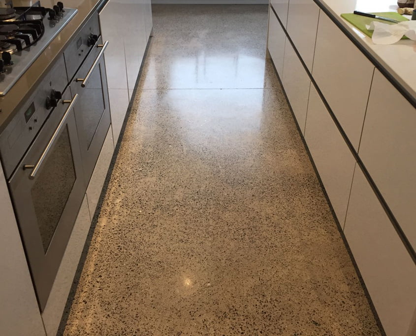 Polished concrete floor to a platinum finish by P Mac 2