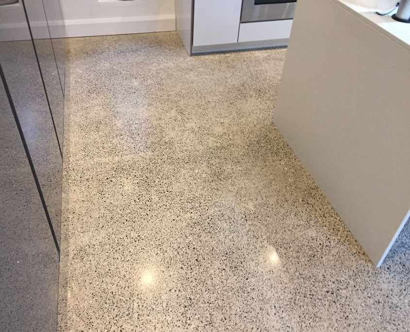 Polished concrete floor to a platinum finish by P Mac