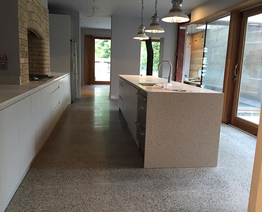 Polished concrete floor - platinum finish - kitchen - P Mac