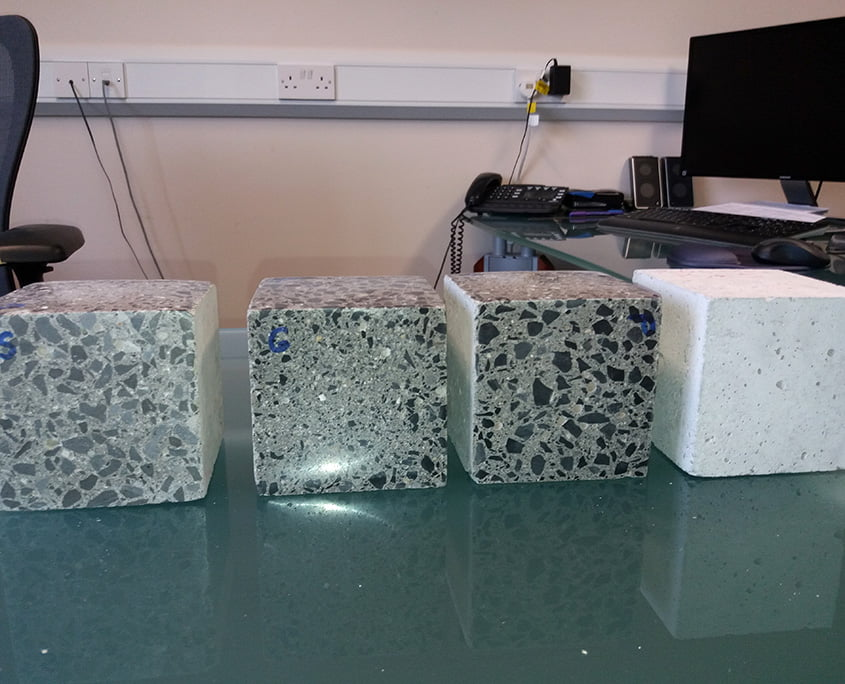 Polished concrete samples